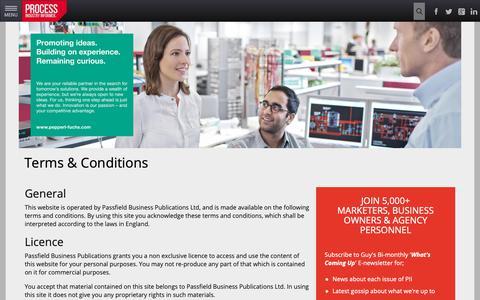 Screenshot of Terms Page processindustryinformer.com - Terms & Conditions - Process Industry Informer - captured Nov. 1, 2018