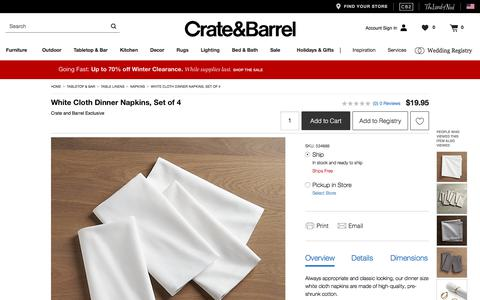 White Cloth Dinner Napkins, Set of 4   Crate and Barrel
