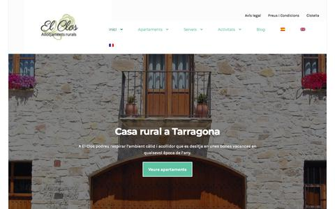 Screenshot of Home Page elclos.com - El Clos - Casa rural a Tarragona - captured Sept. 22, 2018