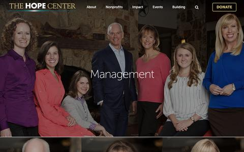 Screenshot of Team Page thehopecenter.org - Management · The Hope Center - captured Feb. 25, 2016
