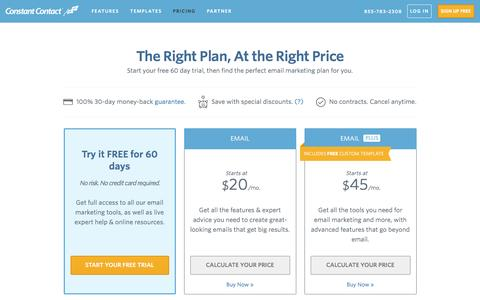 Screenshot of Pricing Page constant-contact.com - Email Marketing Software | Constant Contact Pricing - captured April 1, 2016