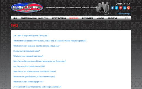 Screenshot of FAQ Page parco-inc.com - FAQ - Parco, Inc. | T-Slotted Aluminum - captured July 15, 2018