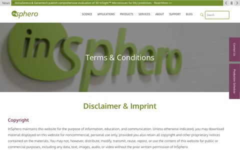 Screenshot of Terms Page insphero.com - Terms & Conditions - InSphero - captured Oct. 11, 2018