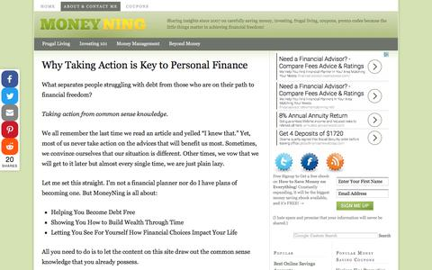 Screenshot of About Page moneyning.com - Why Taking Action is Key to Personal Finance - captured May 10, 2017