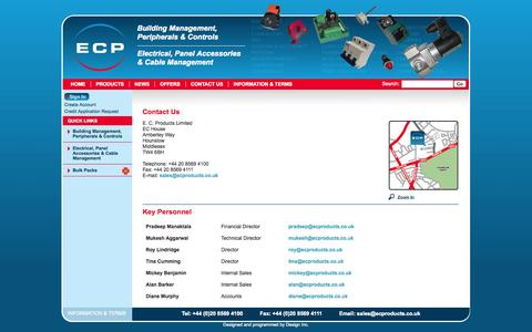 Screenshot of Contact Page ecproducts.co.uk - EC Products - Building Management, Peripherals and Controls - Hounslow, Middlesex, UK. - captured Oct. 1, 2014