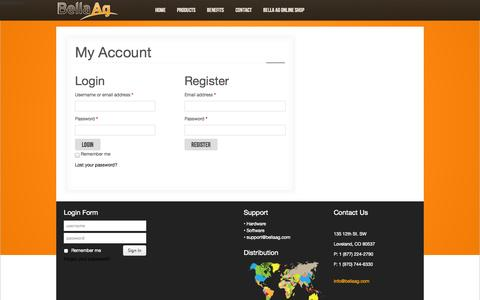 Screenshot of Signup Page bellaag.com - My Account - captured Oct. 23, 2014