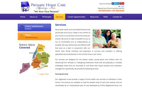 Screenshot of Services Page promisehomecareagency.com - Promise Home Care Agency, Inc. - Home Health Care Services - Bronx, New York  - Services - captured Nov. 14, 2016