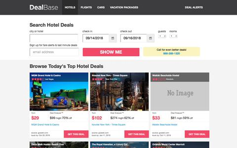 Screenshot of Home Page dealbase.com - Hotel Deals - Find Hotel Discounts and Cheap Travel Deals | Dealbase - captured Sept. 13, 2018