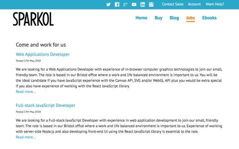 Screenshot of Jobs Page sparkol.com - Sparkol - Jobs - captured May 19, 2018