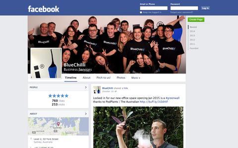 Screenshot of Facebook Page facebook.com - BlueChilli - Sydney, NSW - Business Services | Facebook - captured Oct. 22, 2014