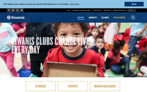Screenshot of Press Page kiwanis.org - News - captured Oct. 15, 2018