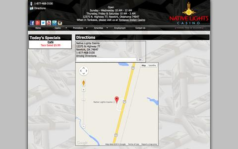 Screenshot of Maps & Directions Page nativelightscasino.com - Native Lights Casino - Newkirk Oklahoma - captured Oct. 7, 2014