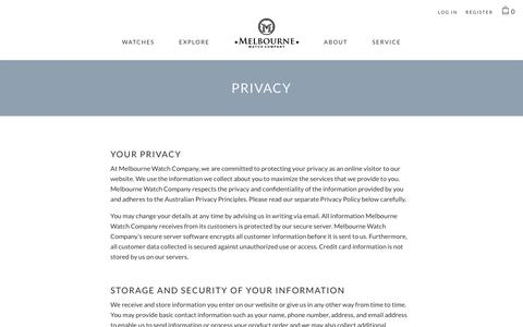 Screenshot of Privacy Page melbournewatch.com.au - Privacy                      – Melbourne Watch Company - captured Oct. 2, 2018