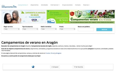 Screenshot of campamentos.info - Aragón - captured Aug. 22, 2016