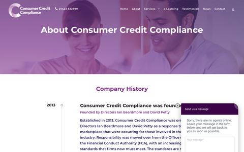 Screenshot of About Page consumercreditcompliance.co.uk - About Consumer Credit Compliance | Consumer Credit Compliance - captured Sept. 29, 2018