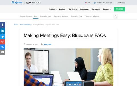 Screenshot of FAQ Page bluejeans.com - Using BlueJeans: Frequently Asked Questions - BlueJeans Blog - captured Jan. 20, 2018