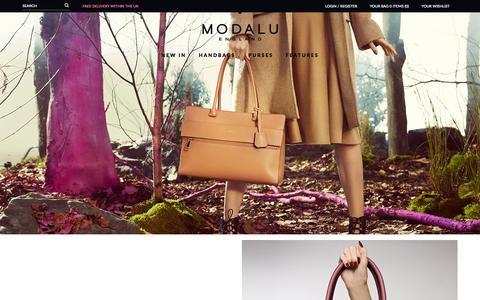 Screenshot of Home Page modalu.com - Modalu England | Official Online Store | Designer Leather Handbags and Purses - captured Sept. 23, 2014