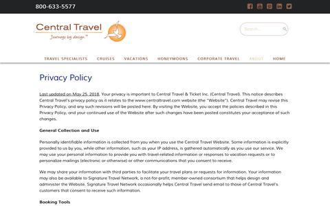 Screenshot of Privacy Page centraltravel.com - Privacy Policy  -  Central Travel - captured Nov. 4, 2018