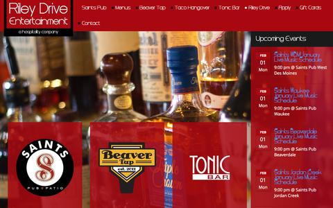 Screenshot of Home Page rileydrive.com - Saints Pub + Patio | Tonic Bar | Beaver Tap - captured Jan. 30, 2016