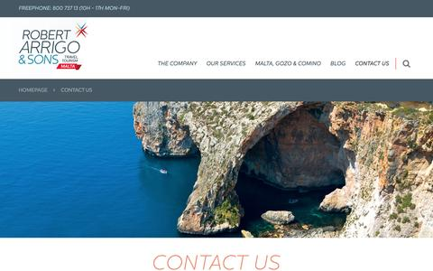 Screenshot of Contact Page robertarrigo.com - Malta Travel Specialists | Contact us - captured Dec. 6, 2016