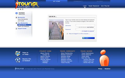 Screenshot of Login Page itourist.com - Member Login - Life's a journey - share it with iTourist! - captured June 4, 2016