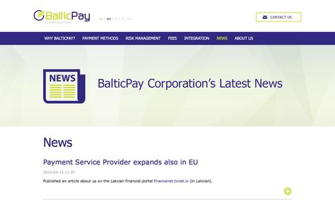 Screenshot of Press Page balticpay.eu - News - BalticPay Corporation - Your payment service provider - captured Feb. 7, 2016