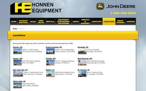 Screenshot of Locations Page honnen.com - Honnen Equipment - Honnen Equipment Locations - captured Oct. 3, 2014
