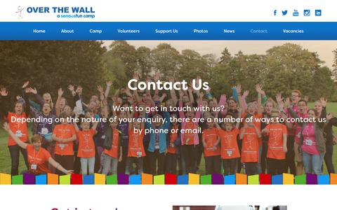 Screenshot of Contact Page otw.org.uk - Contact - Over The WallOver The Wall - captured Oct. 19, 2018