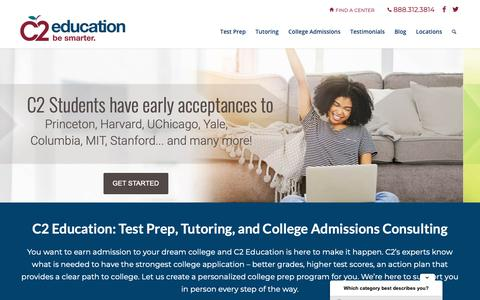 Screenshot of Home Page c2educate.com - C2 Education - Test Prep, Tutoring, and College Preparation - captured Feb. 21, 2019