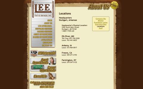 Screenshot of Locations Page leetruckbroker.com - Lee Truck Broker - About Us: Select a Location - captured Oct. 2, 2014