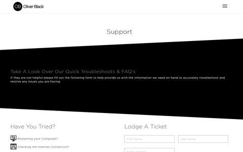 Screenshot of Support Page oliverblack.com.au - Support Services   Oliver Black - captured June 12, 2017