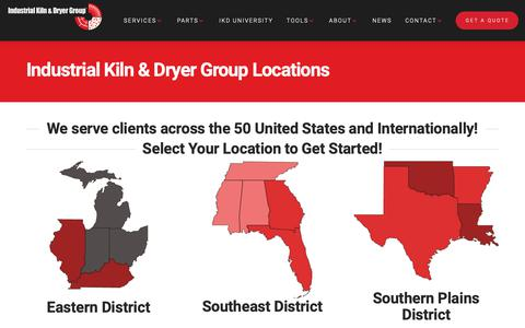 Screenshot of Locations Page industrialkiln.com - Locations | Industrial Kiln & Dryer Group - captured Oct. 11, 2018