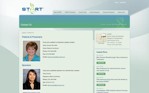 Screenshot of Contact Page startthecure.com - START - South Texas Accelerated Research Therapeutics - CONTACT START - captured Oct. 3, 2014