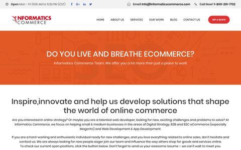 Screenshot of Jobs Page informaticscommerce.com - Career Opportunity | eCommerce Design and Development, Houston, TX - captured Dec. 7, 2018