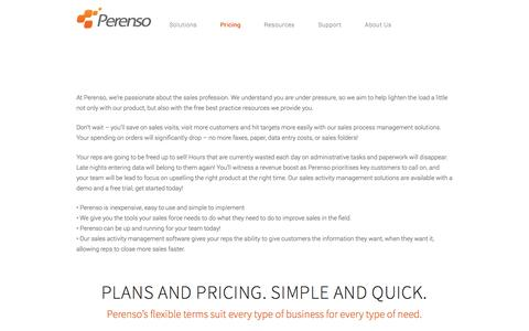 Screenshot of Pricing Page perenso.com - Plans & Pricing | Sales Activity & Sales Process Management - captured Sept. 29, 2014