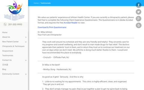 Screenshot of Testimonials Page ishitanihealth.com - Ishitani Health Center - Chiropractor In Fort Lee, NJ USA :: Testimonials - captured April 23, 2017
