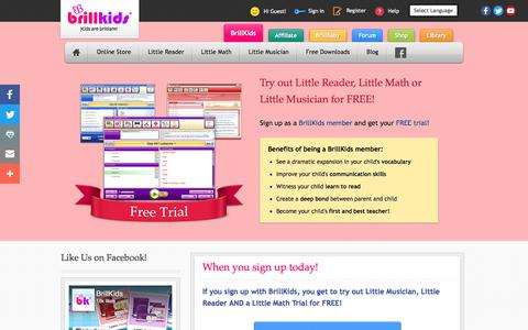 Screenshot of Trial Page brillkids.com - BrillKids Free Trial Software | Early Education Learning Systems - captured June 25, 2017