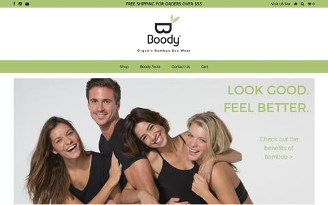 Screenshot of Home Page boody.com.au - Organic Bamboo Eco Wear – Boody Australia - captured Sept. 13, 2015