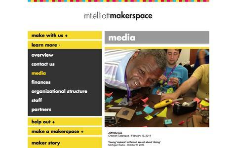 Screenshot of Press Page mtelliottmakerspace.com - media   Mt. Elliott Makerspace - captured Sept. 30, 2014