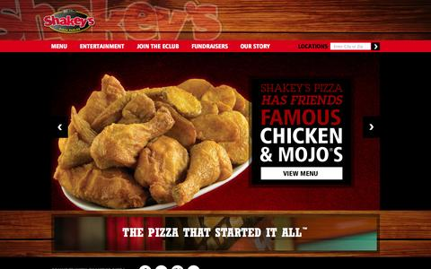 Screenshot of Home Page shakeys.com - Shakey's Pizza Parlor | Bunch of Lunch | Mojos | Chicken Wings | Pizza and Beer | All You Can Eat Buffet - captured Oct. 7, 2014