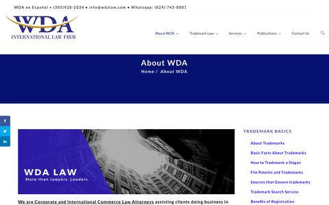 Screenshot of About Page wdalaw.com - About WDA - captured Dec. 15, 2018