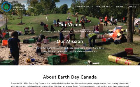 Screenshot of About Page earthday.ca - Earth Day Canada About Earth Day Canada - captured Sept. 26, 2018