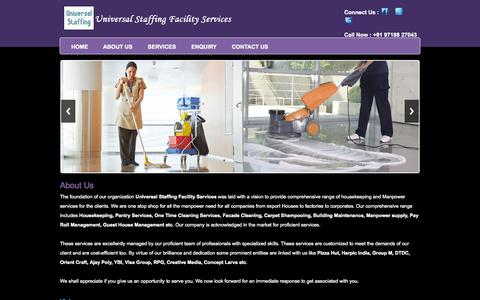 Screenshot of About Page universalstaffing.in - Universal Staffing Facility   Manpower Outsourcing   Pantry Services   Housekeeping Services   Building Maintenance Services - captured Oct. 9, 2014