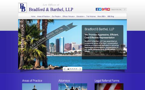 Screenshot of Home Page bradfordbarthel.com - Law Offices of | Bradford & Barthel, LLP - captured Aug. 3, 2018