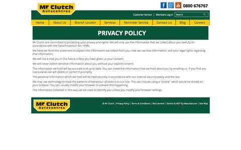 Screenshot of Privacy Page mrclutch.com - Privacy Policies | Mr Clutch - captured Jan. 18, 2016