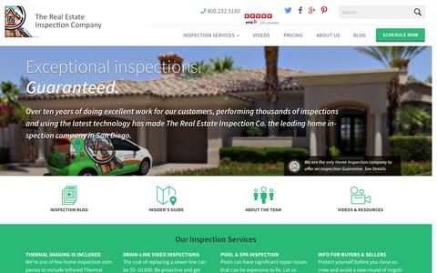 Screenshot of Home Page sdinspect.com - Home Inspector San Diego - The Real Estate Inspection Co. - captured Oct. 10, 2014