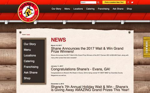 Screenshot of Press Page shanesribshack.com - News | Ribs Restaurant and Affordable Catering | Shane's Rib Shack - captured July 9, 2017
