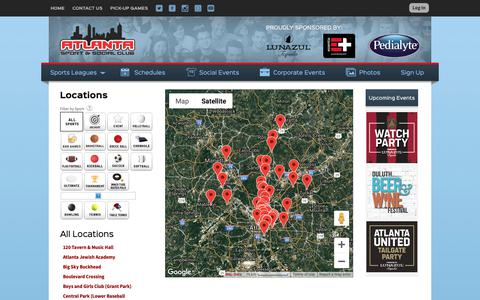 Screenshot of Locations Page atlantasportandsocialclub.com - Locations: Atlanta Sport and Social Club - Atlanta, GA - captured Oct. 4, 2018