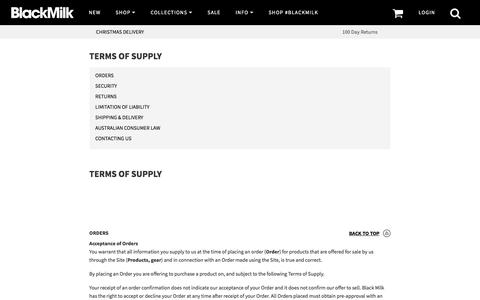Terms of Supply – Black Milk Clothing