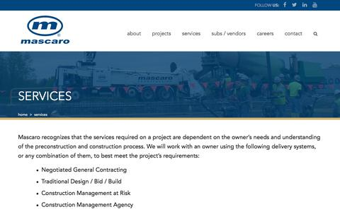Screenshot of Services Page mascaroconstruction.com - Services | Mascaro - captured Sept. 25, 2018